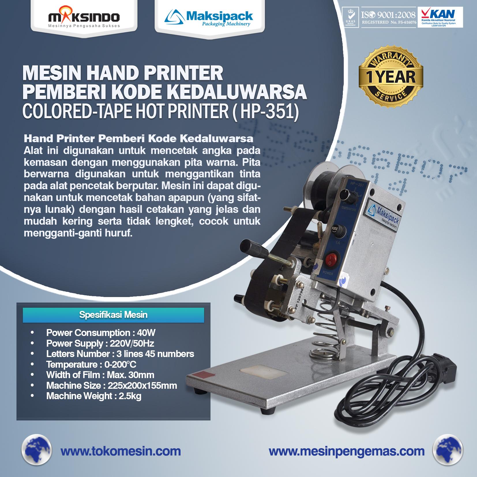 Jual Mesin Hand Printer (Pencetak Kedaluwarsa) di  Bandung