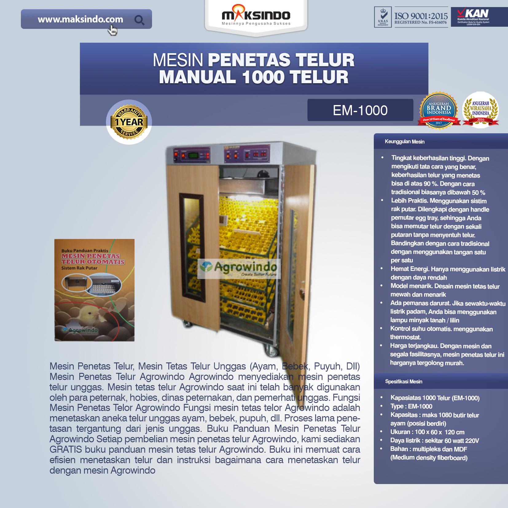 Jual Mesin Penetas Telur Manual 1000 Telur (EM-1000) di Bandung