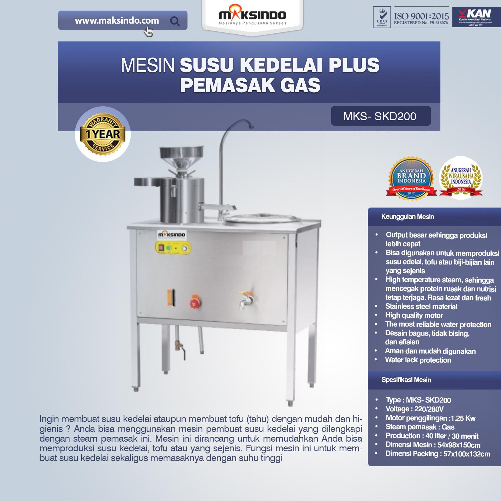 Jual Mesin Susu Kedelai Plus Pemasak Gas (SKD200) di Bandung