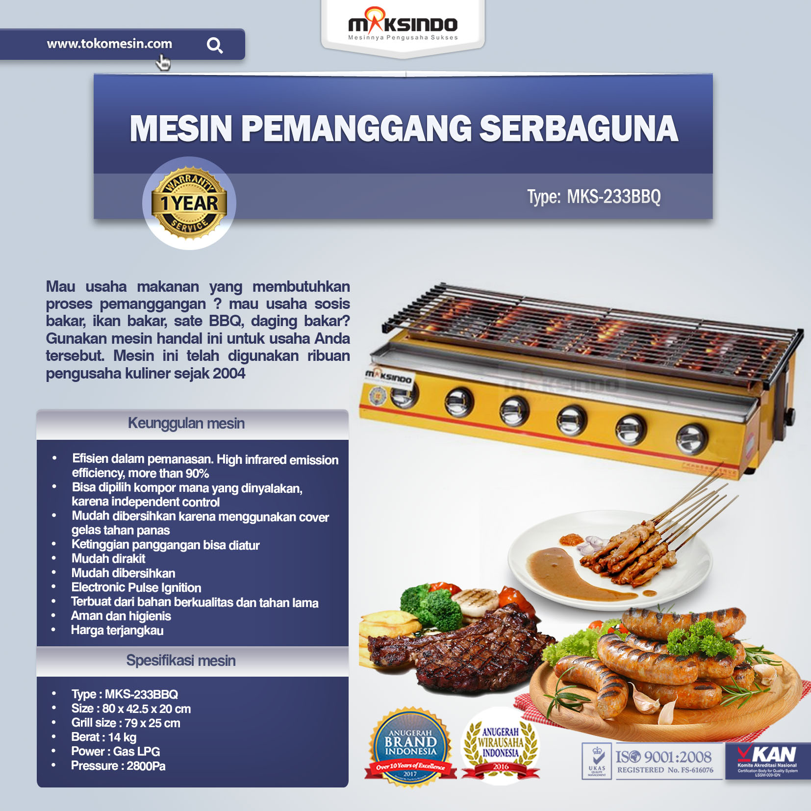 Jual Pemanggang BBQ Stainless Gas 6 Tungku Di Bandung
