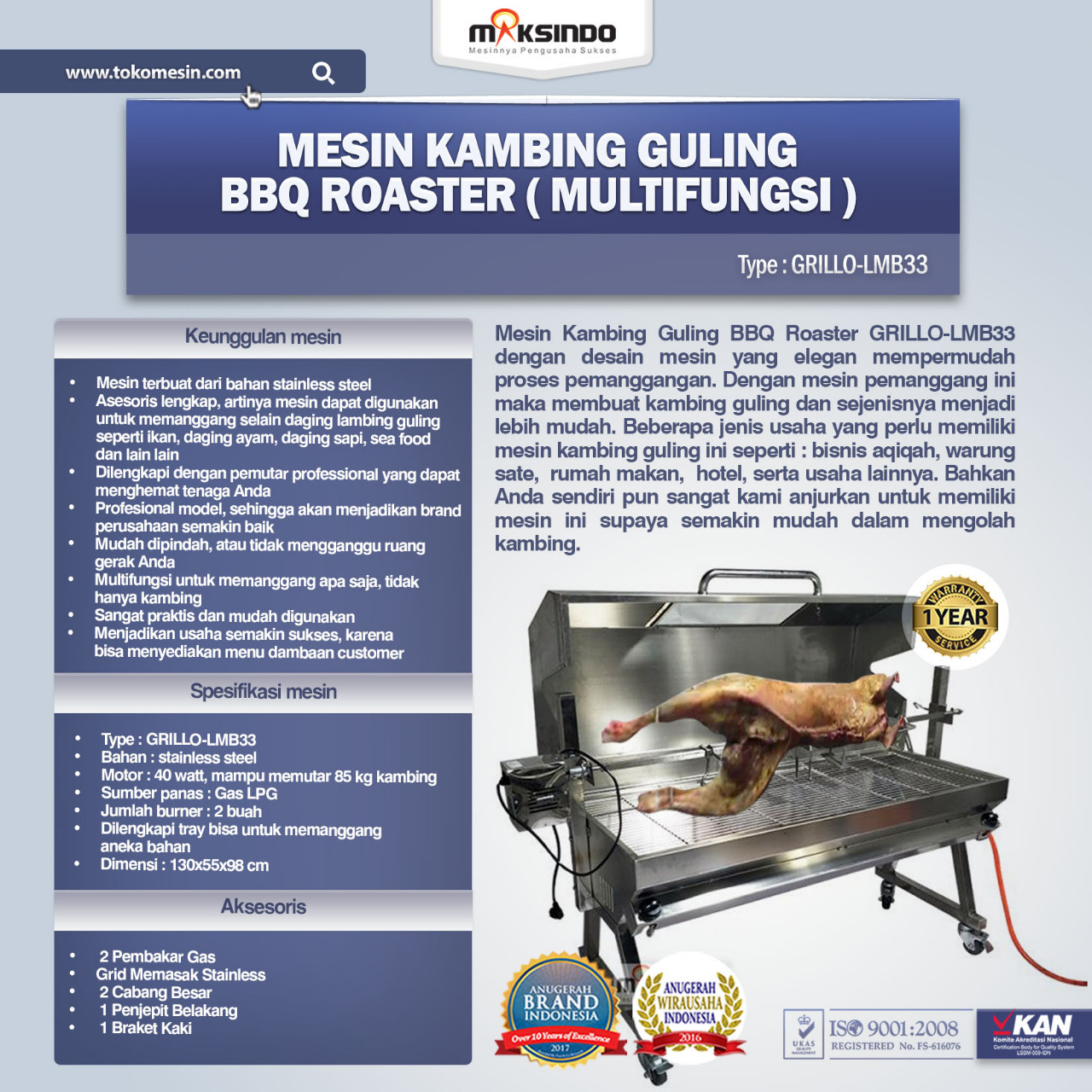 Jual Mesin Kambing Guling Gas Grillo Lmb33 Di Bandung Toko Mesin Maksindo Bandung Toko Mesin Maksindo Bandung