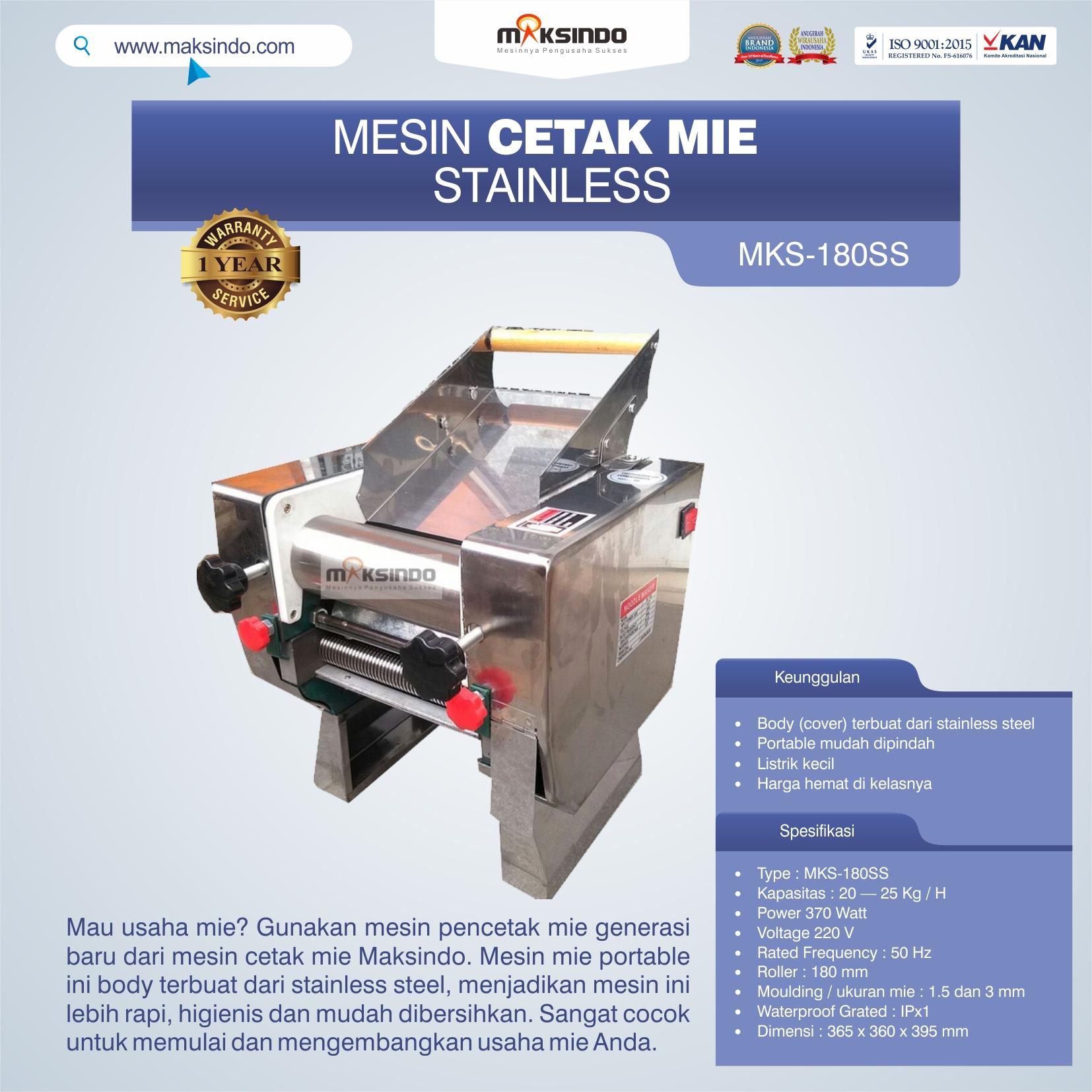 Jual Mesin Cetak Mie Stainless (MKS-180SS) di Bandung