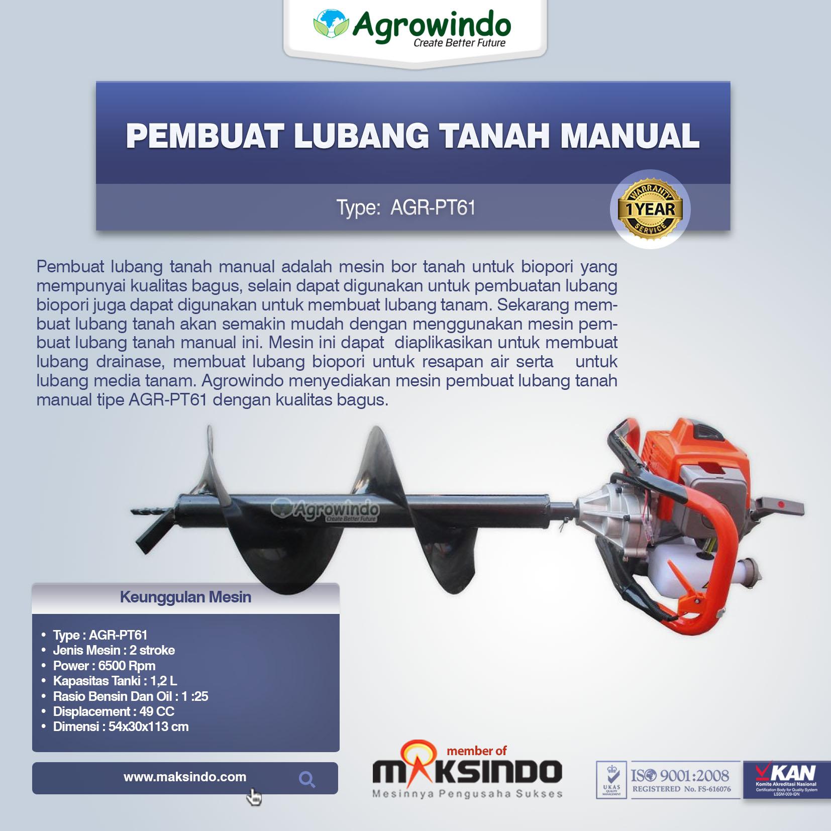 Jual Pembuat Lubang Tanah Manual Agr Pt61 Di Bandung Toko Mesin Bor Biopori Spiral