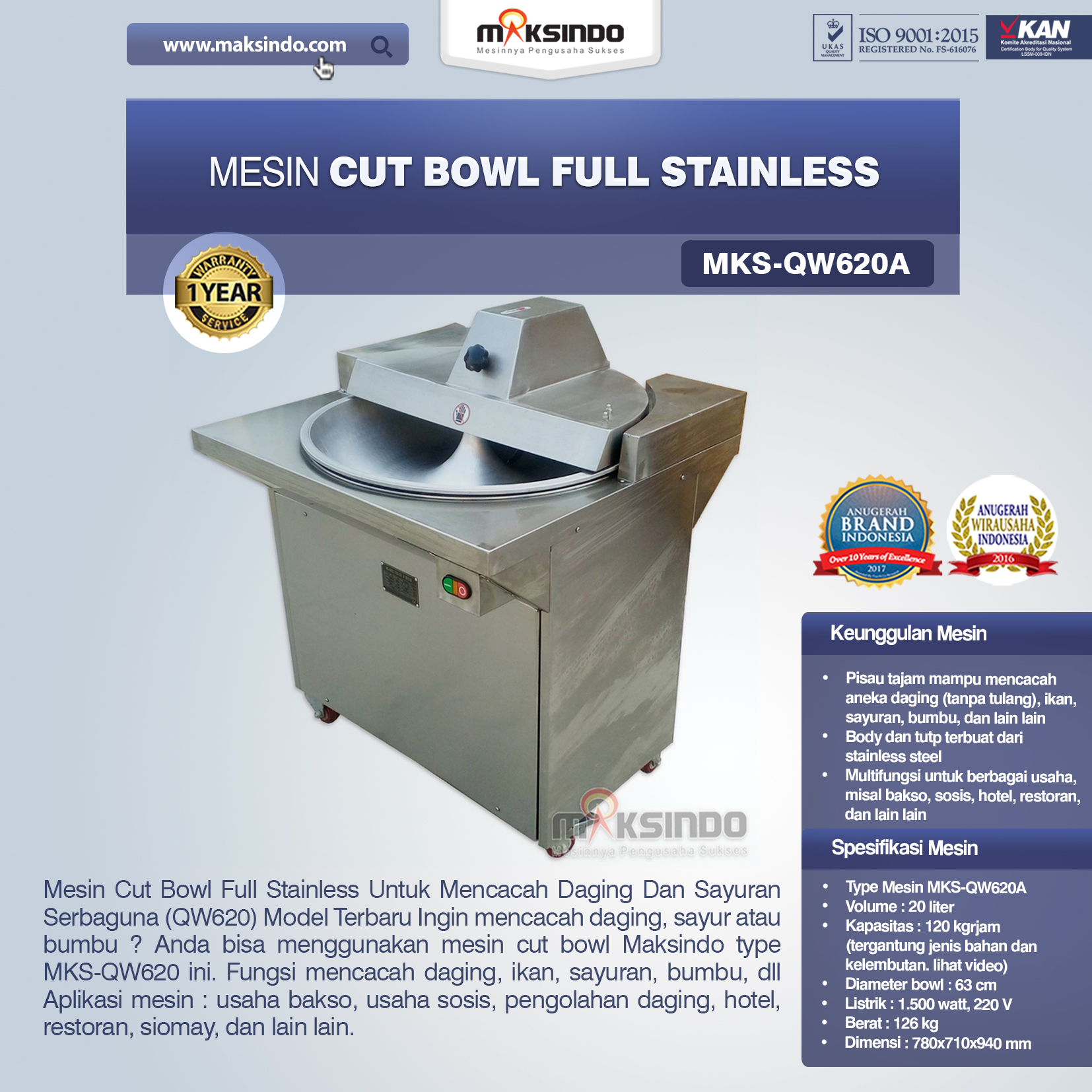 Jual Mesin Cut Bowl Full Stainless (QW620A) di Bandung