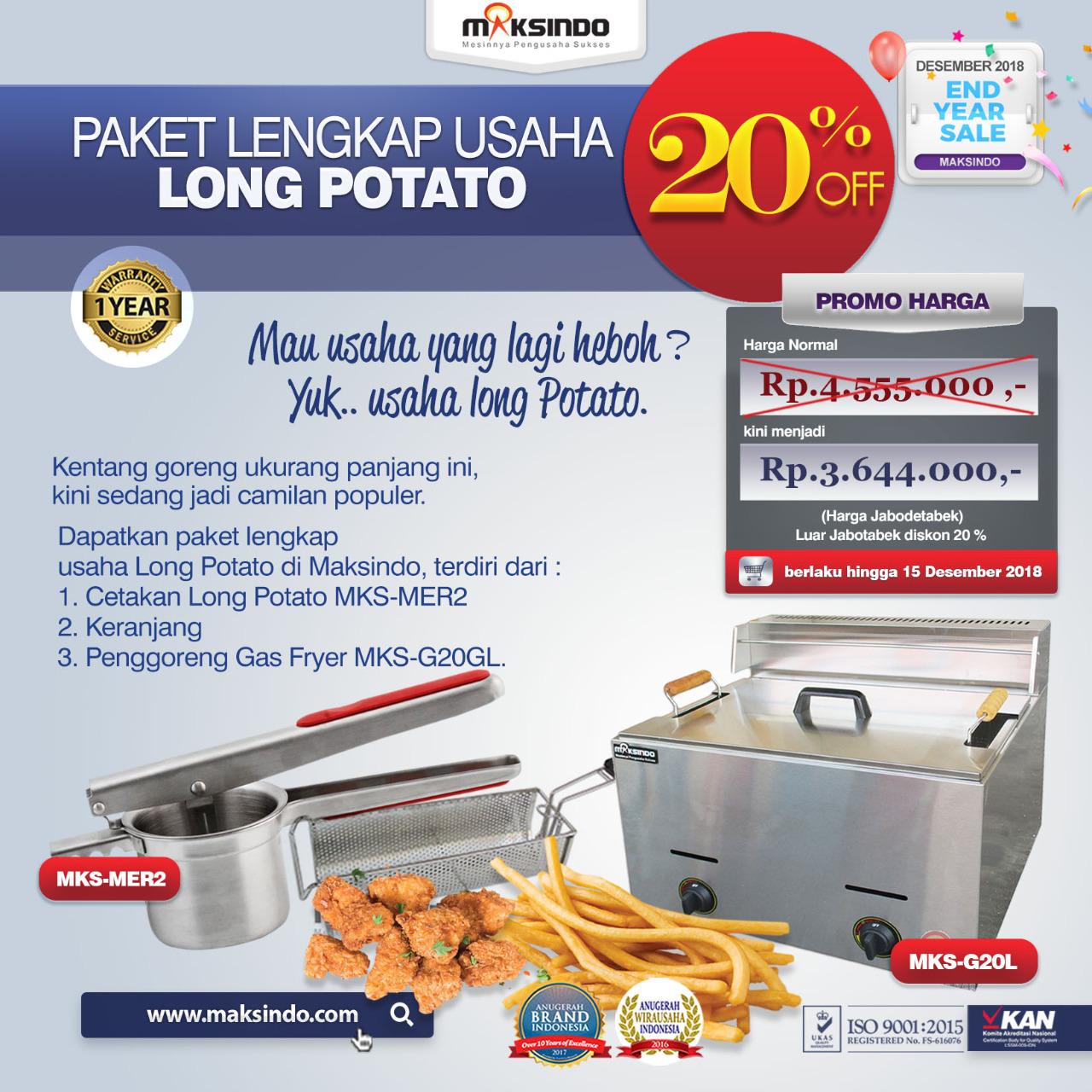 Jual Paket Mesin Long Potato Kentang Panjang di Bandung