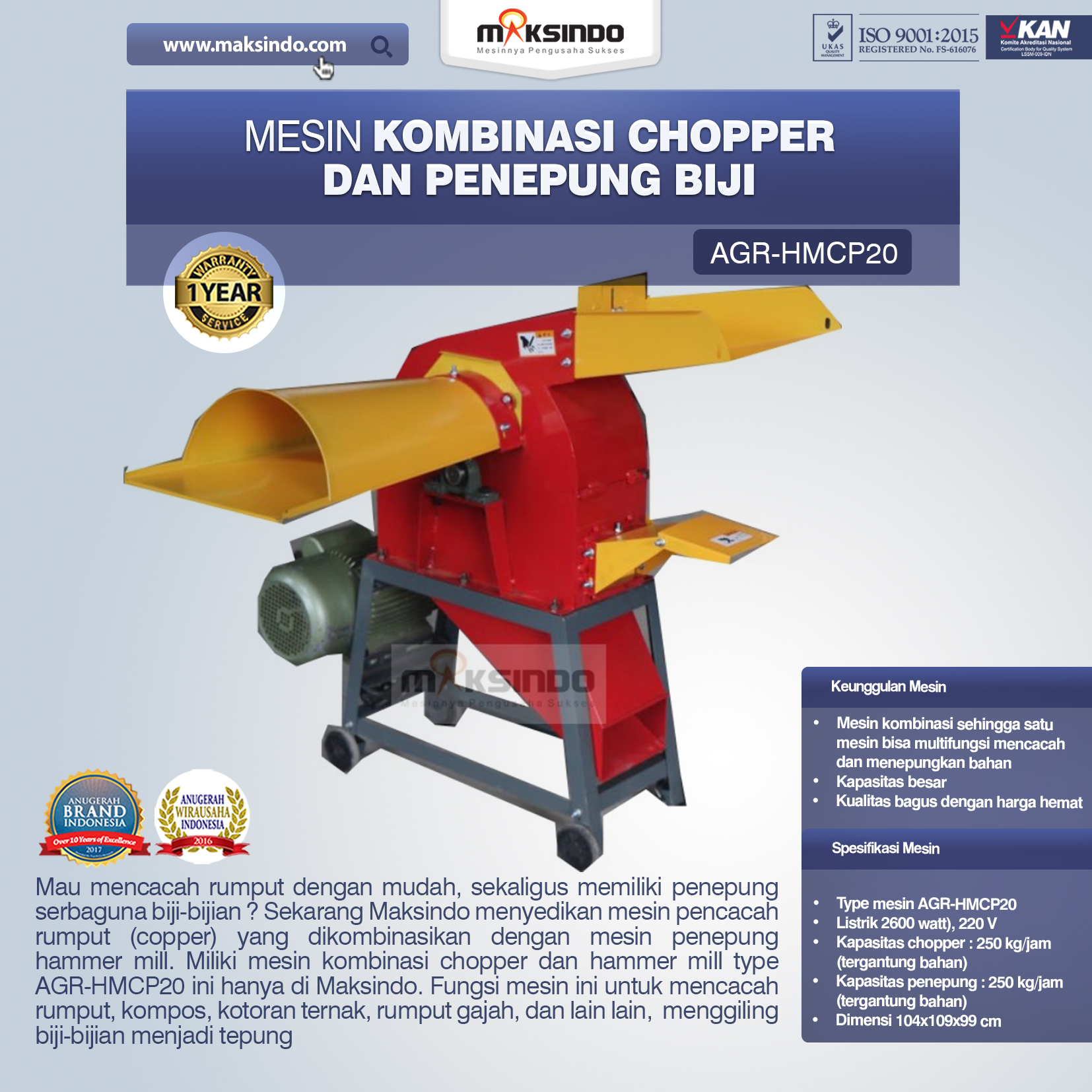 Jual Mesin Kombinasi Chopper dan Penepung Biji (HMCP20) di Bandung