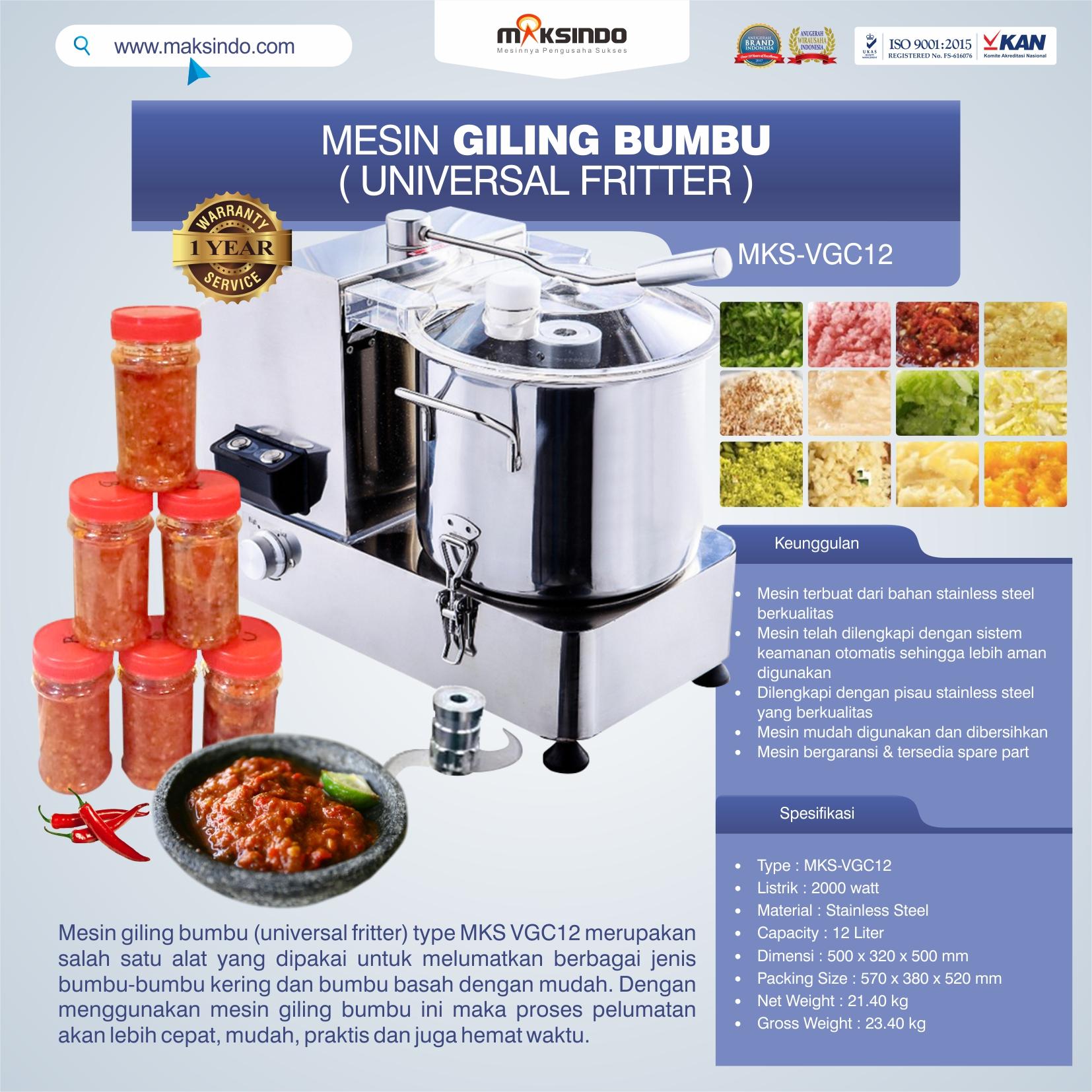 Jual Mesin Giling Bumbu (Universal Fritter) MKS VGC12 di Bandung