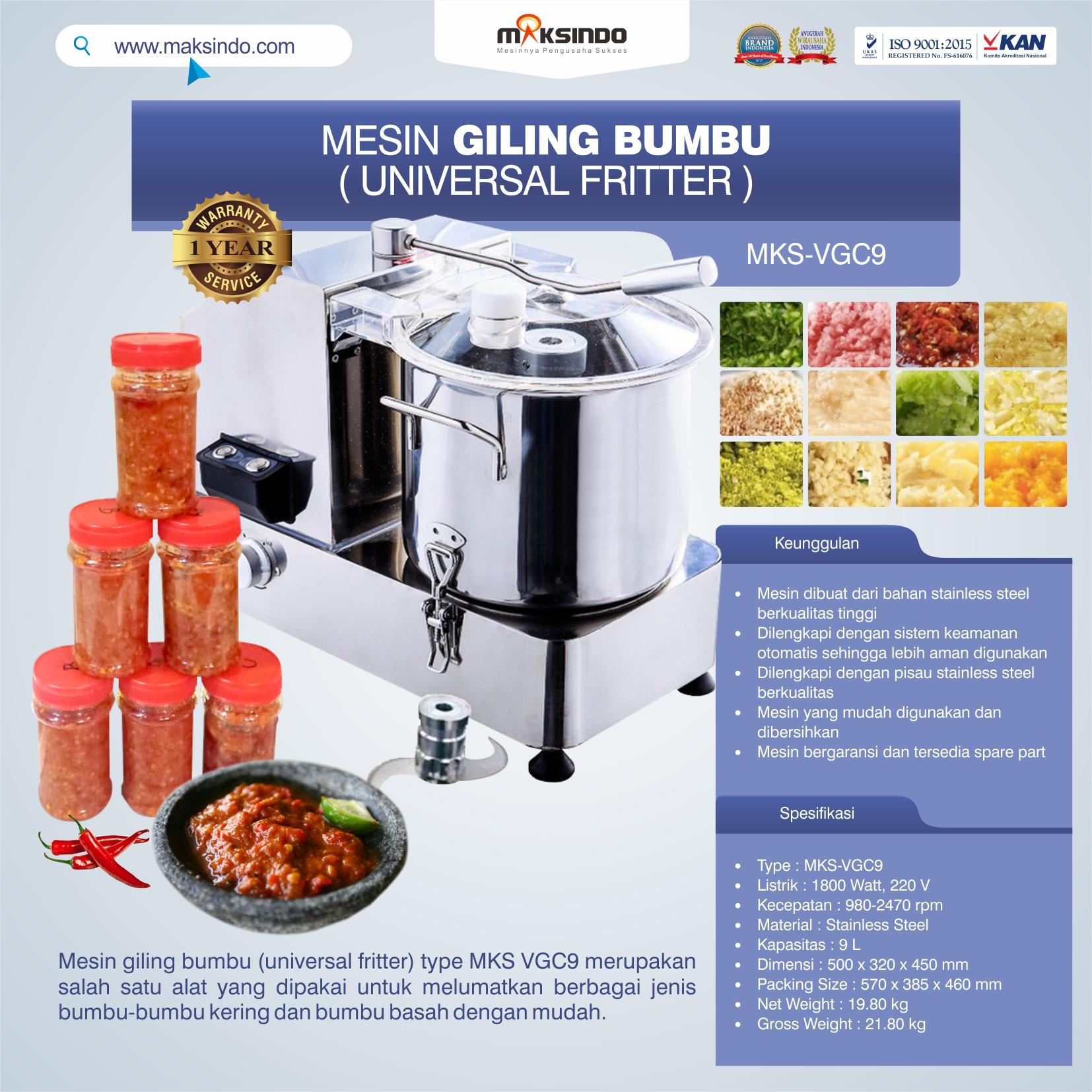 Jual Mesin Giling Bumbu (Universal Fritter) MKS VGC9 di Bandung