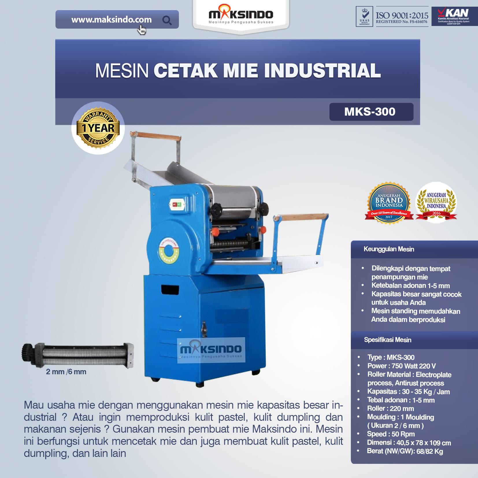 Jual Mesin Cetak Mie Industrial (MKS-300) di Bandung