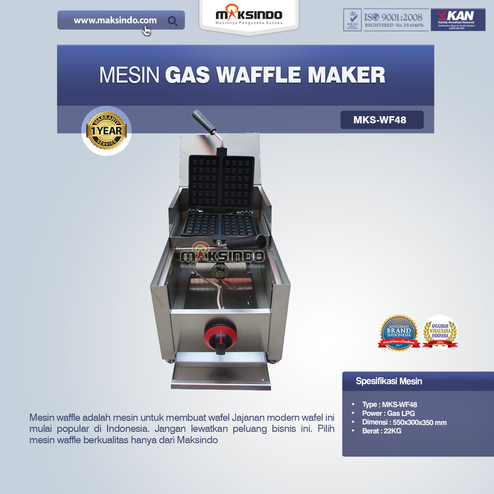 Jual Mesin Gas Waffle Maker MKS-WF48 di Bandung