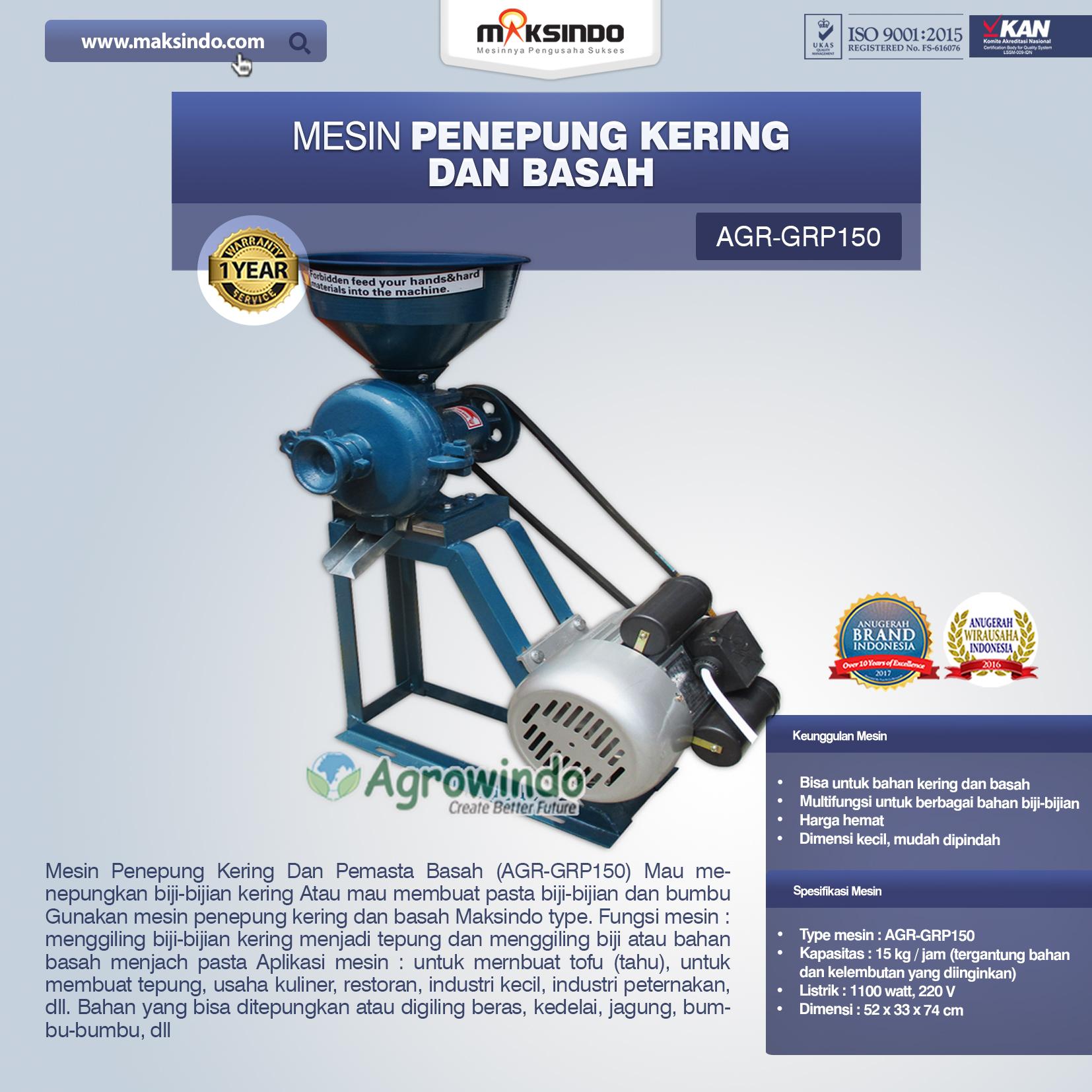 Jual Mesin Penepung Kering dan Basah (GRP150) di Bandung