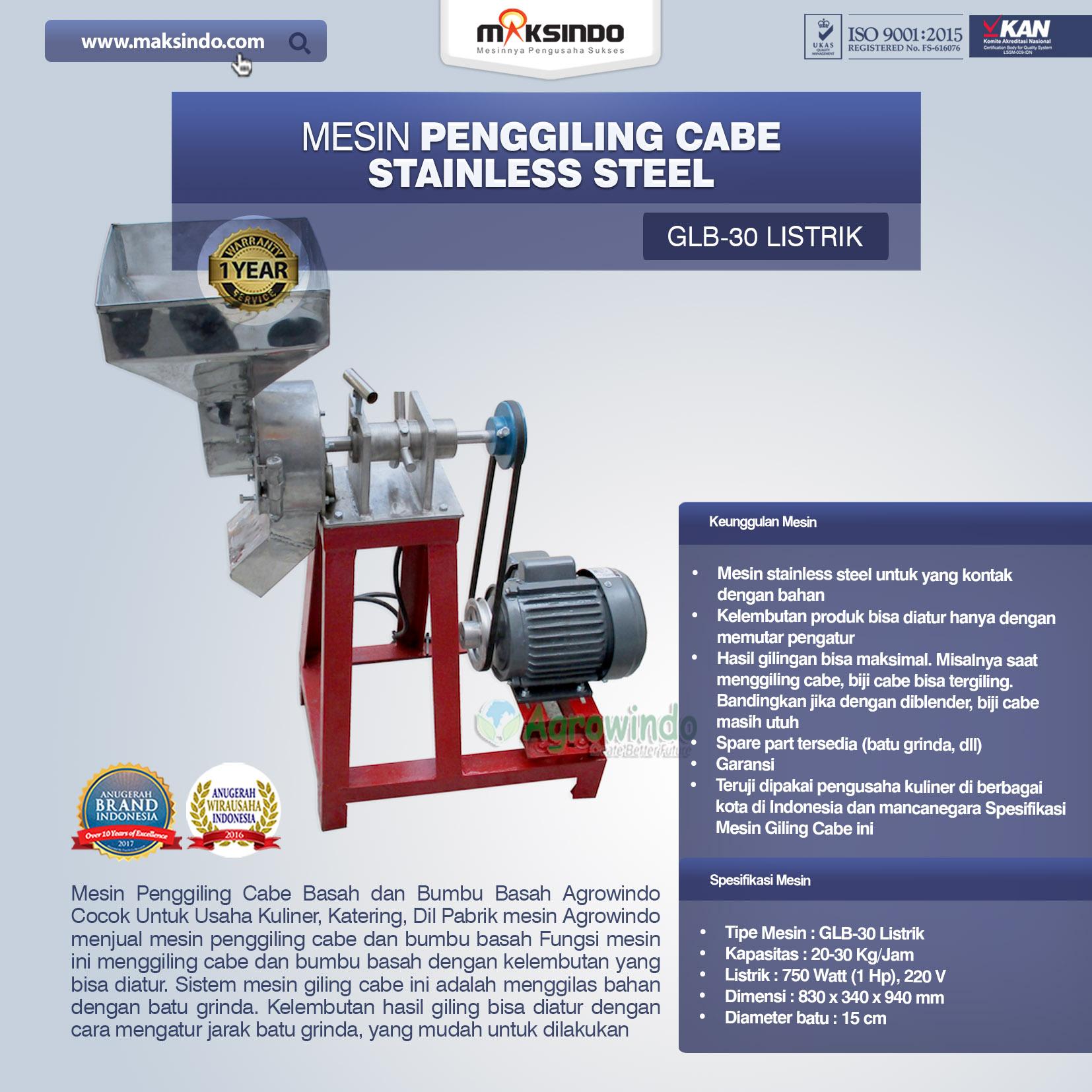 Jual Mesin Penggiling Cabe Stainless Steel di Bandung