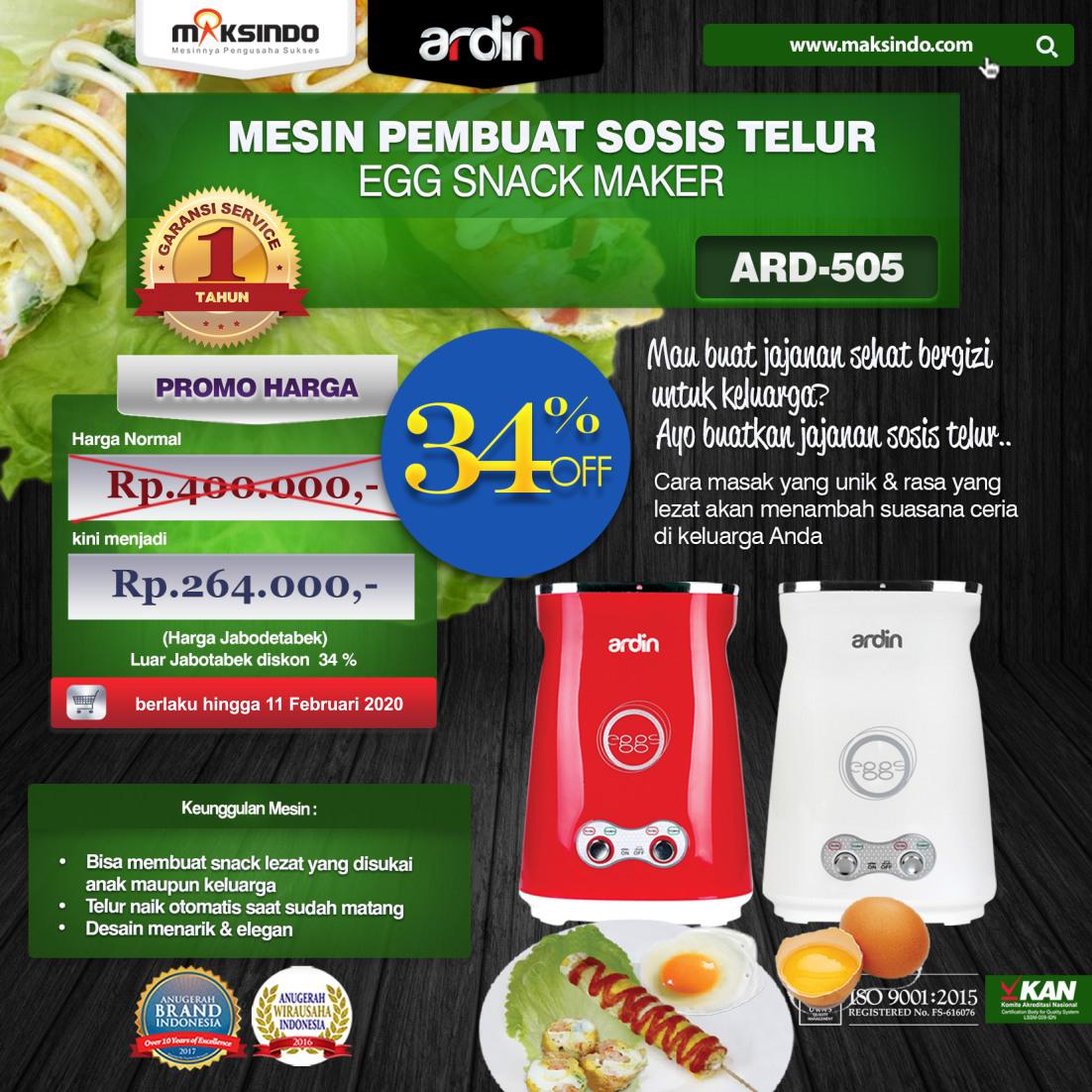 Jual Mesin Sosis Telur 2 Lubang ARDIN ARD-505 di Bandung