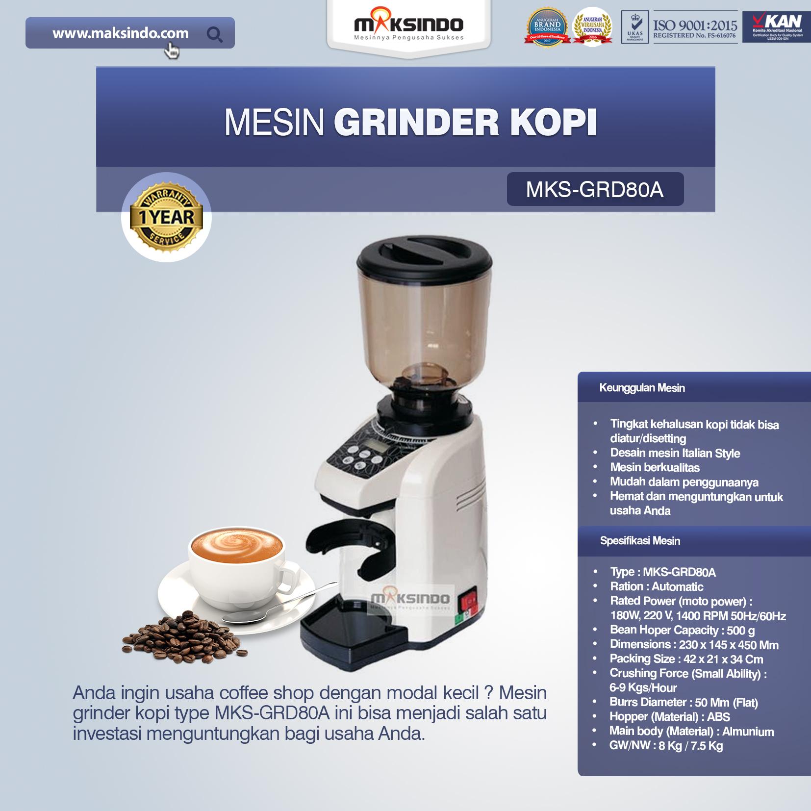 Jual Mesin Grinder Kopi (MKS-GRD80A) di Bandung