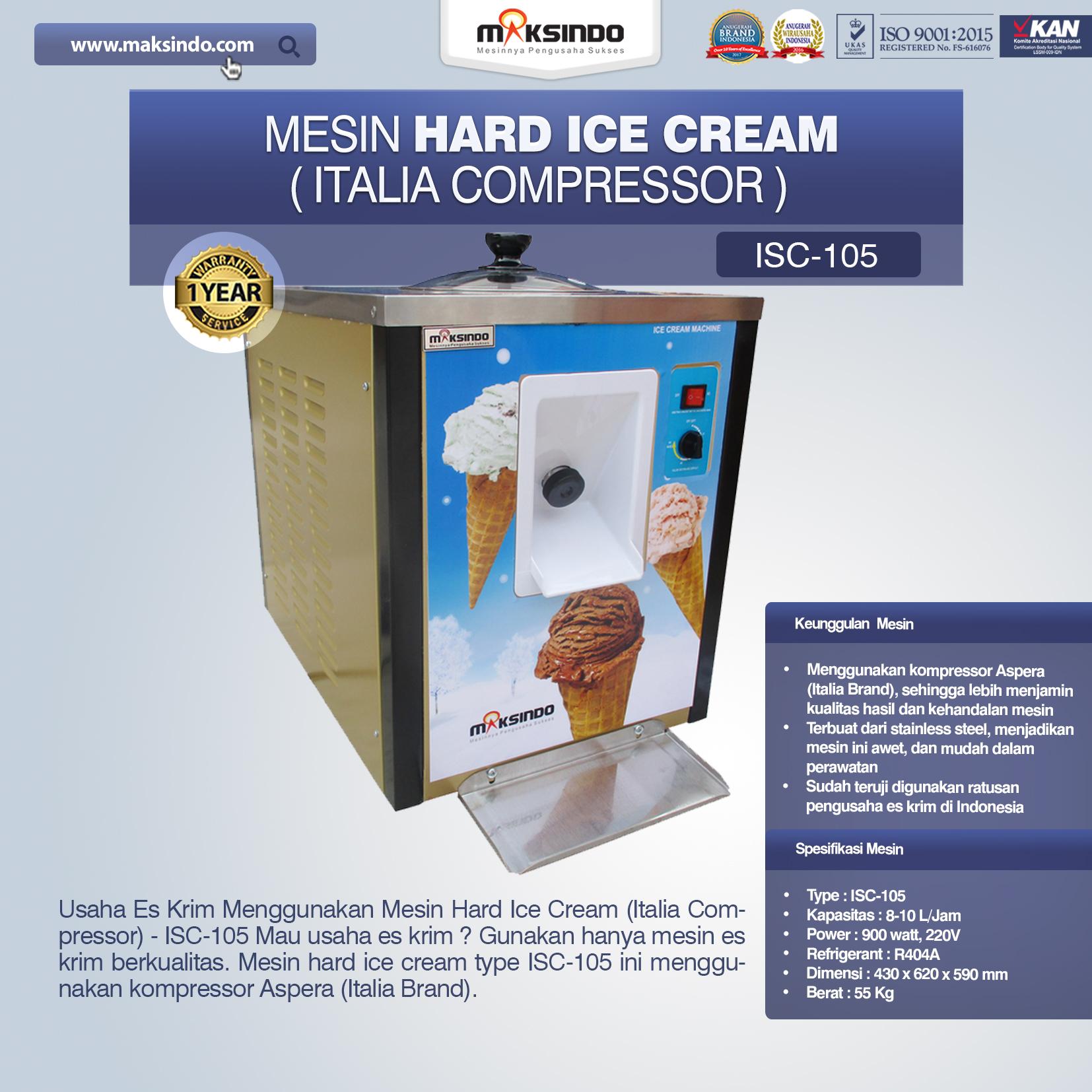 Jual Mesin Hard Ice Cream (Italia Compressor) – ISC-105 di Bandung