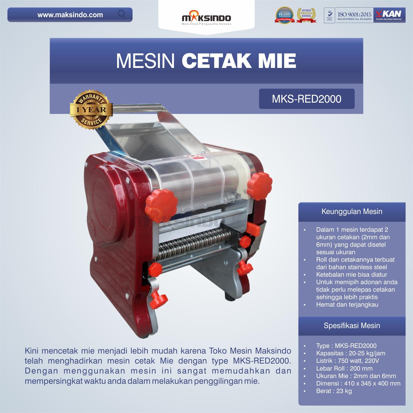 Jual Mesin Cetak Mie MKS-RED2000 di Bandung