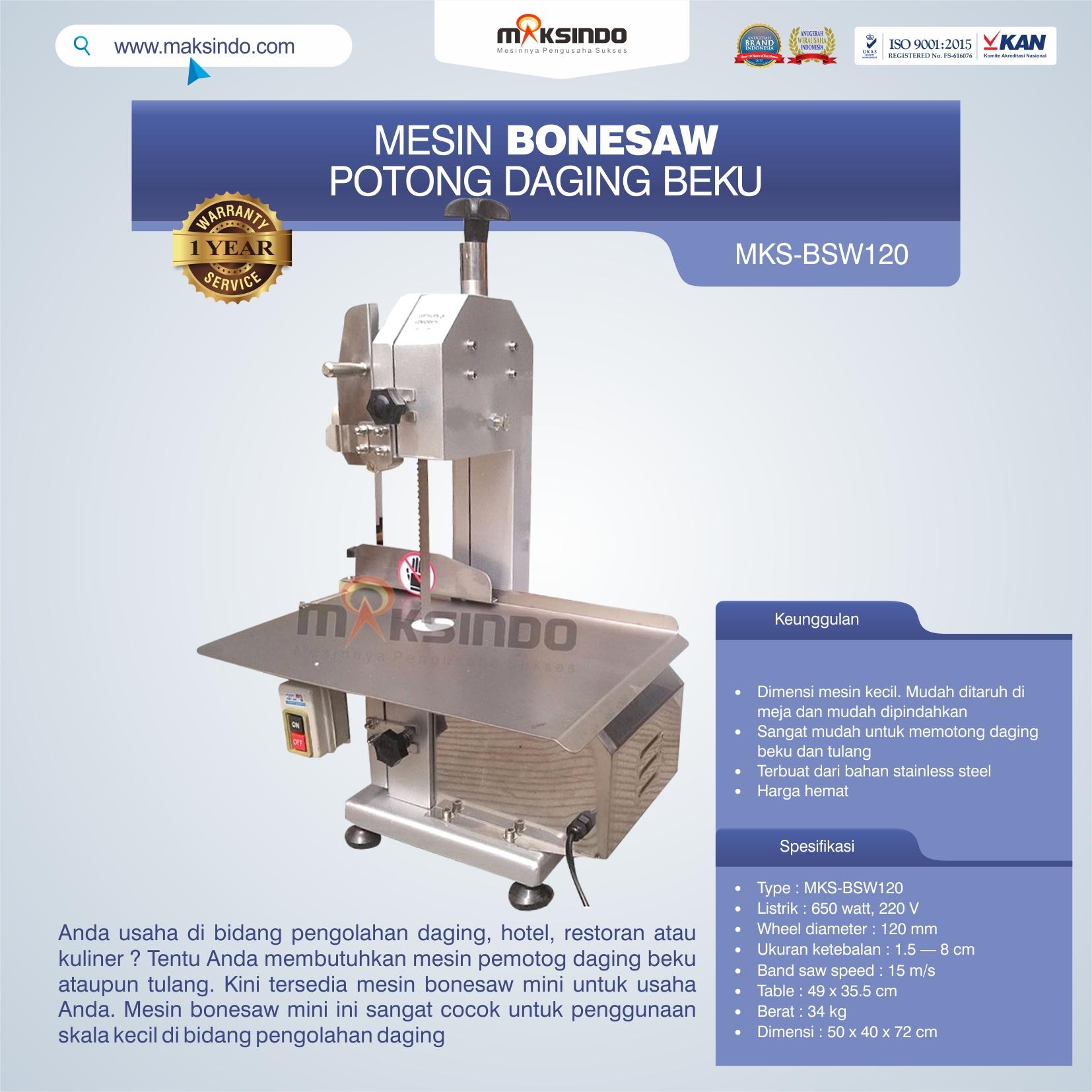 Jual Bonesaw Pemotong Daging Beku (MKS-BSW120) di Bandung