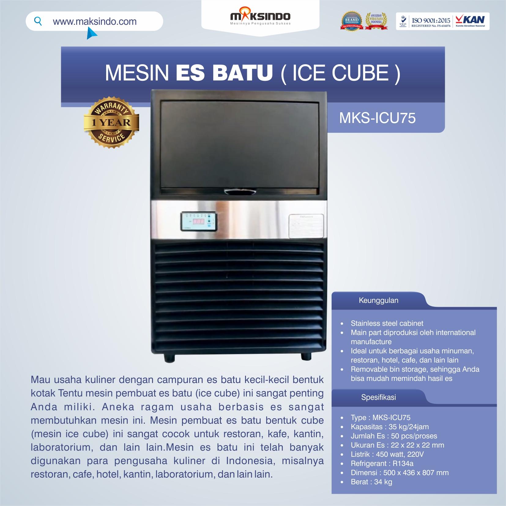 Jual Mesin Es Batu Ice Cube (ICU-75) di Bandung