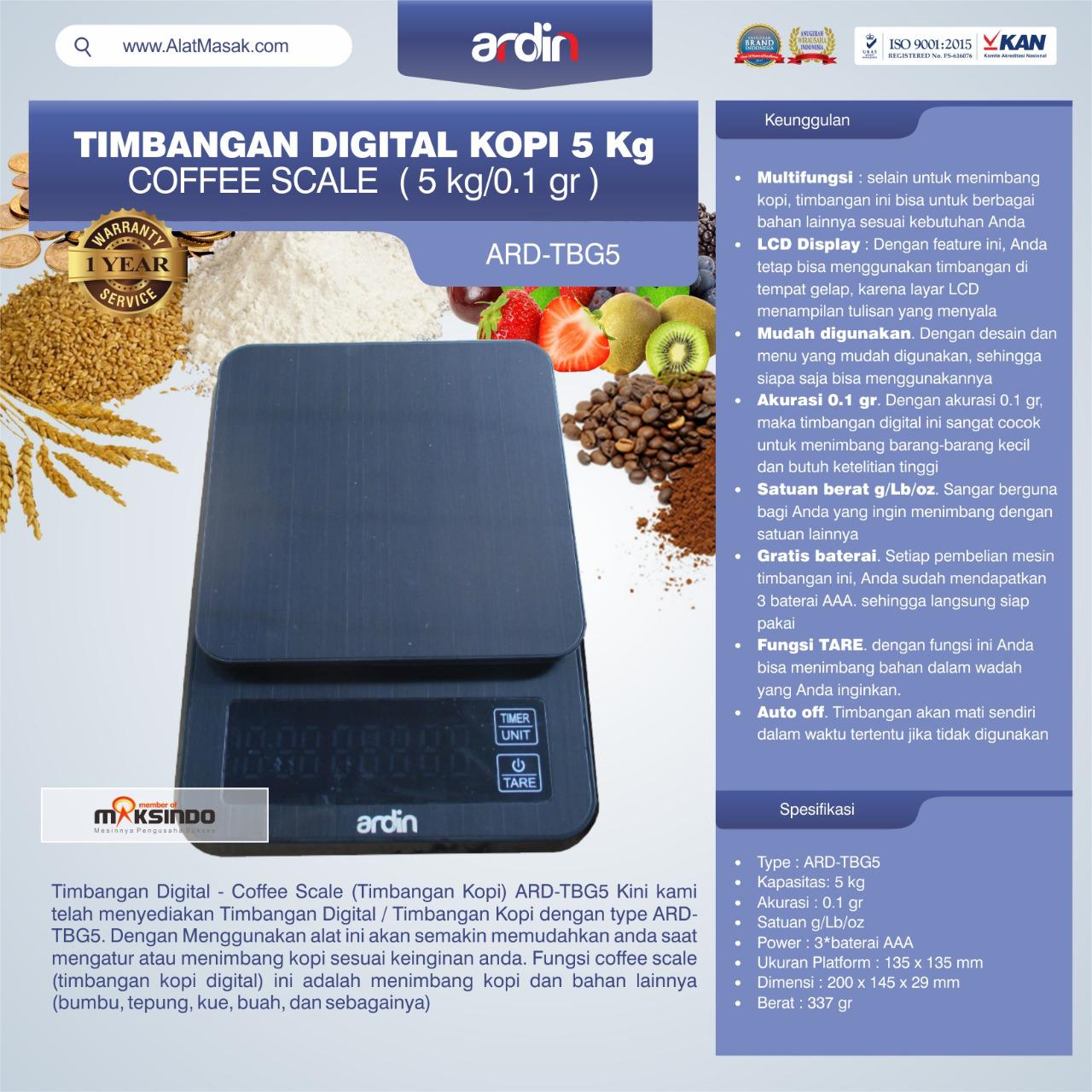 Jual Timbangan Digital Kopi 5 kg ARD-TBG5 (coffee scale) di Bandung