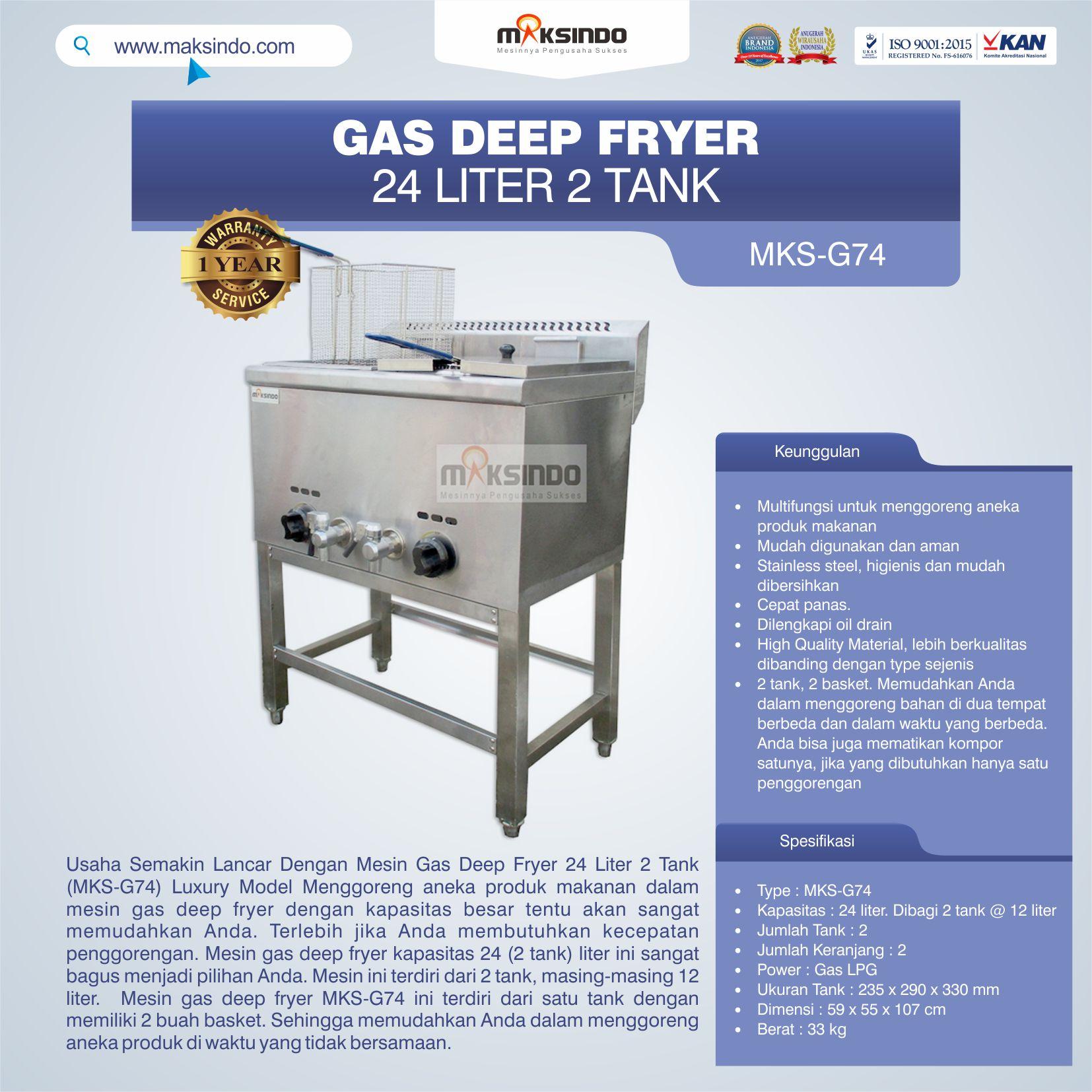 Jual Gas Deep Fryer 24 Liter 2 Tank (G74) di Bandung