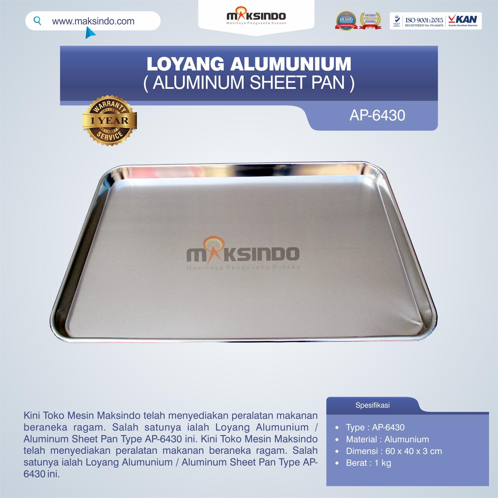 Jual Loyang Alumunium / Aluminum Sheet Pan Type AP-6430 di Bandung
