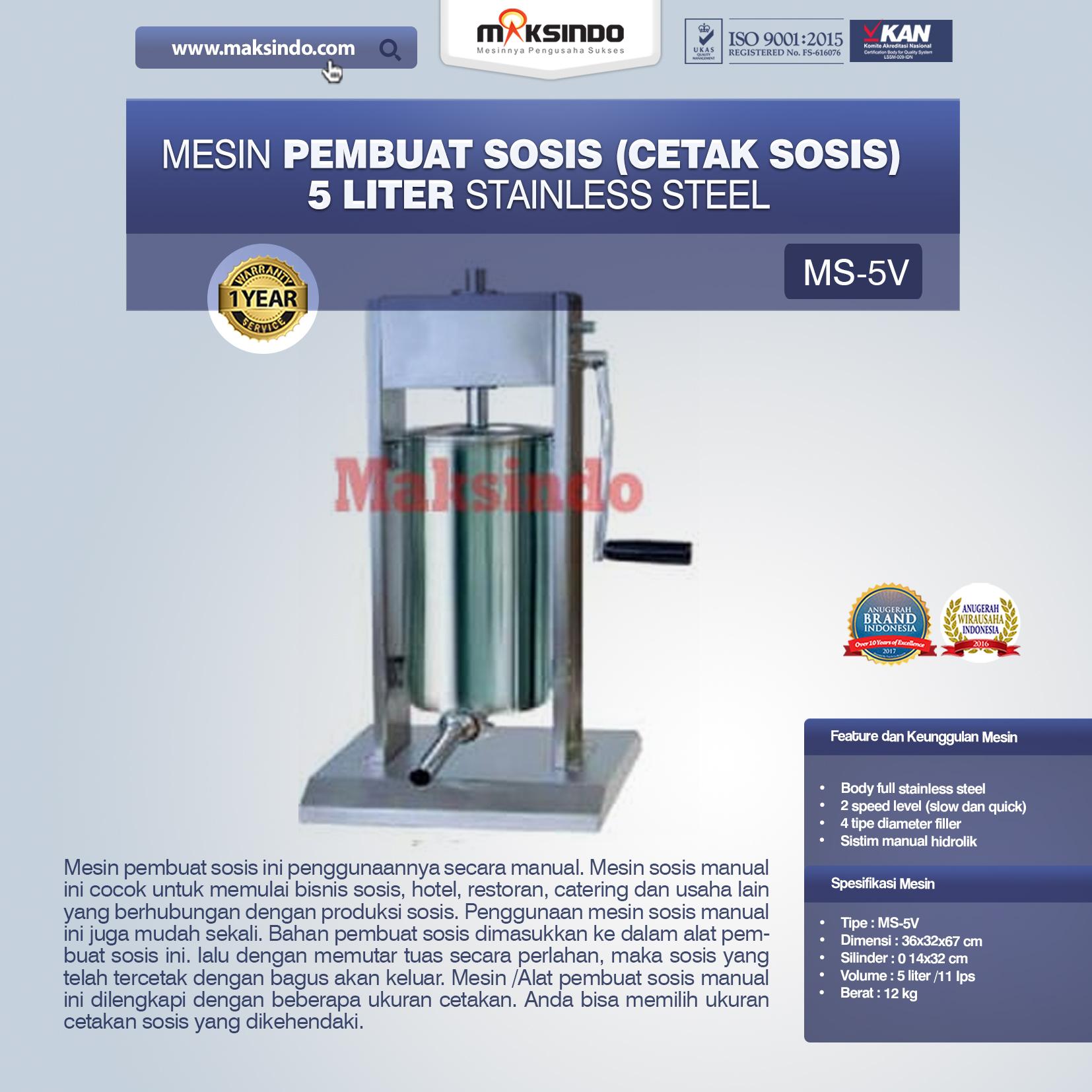 Jual Mesin Pembuat Sosis (Cetak Sosis) Stainless Steel di Bandung