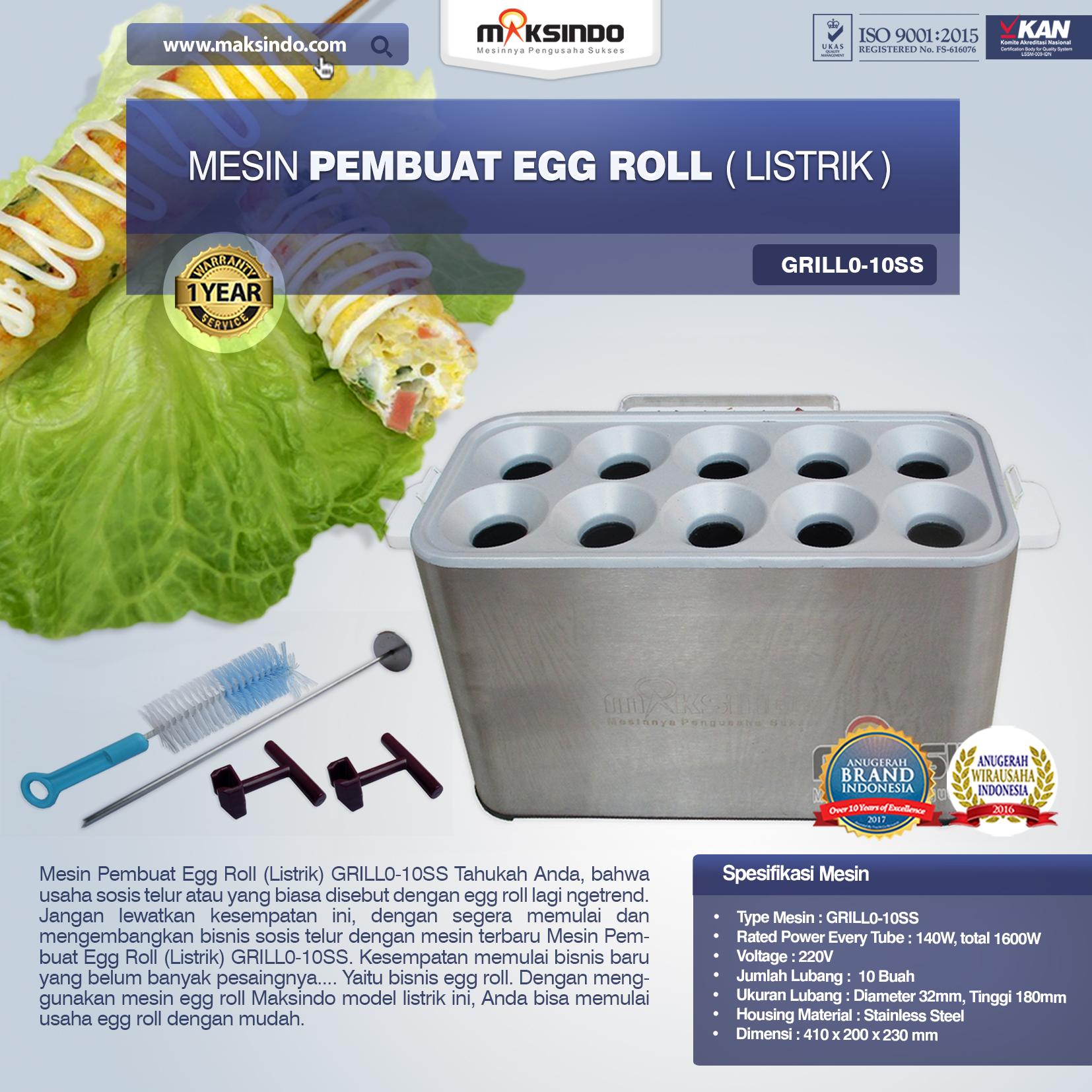 Jual Mesin Pembuat Egg Roll (Listrik) GRILLO-10SS di Bandung