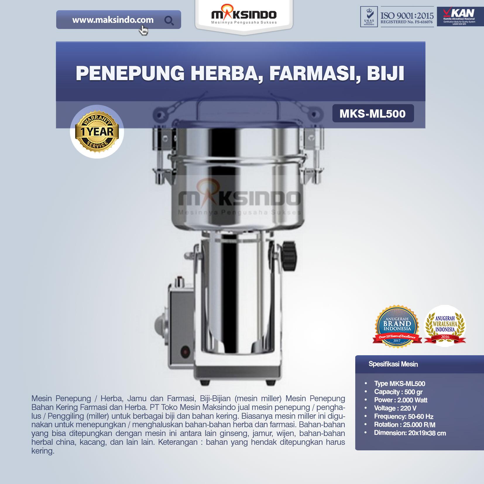 Jual Penepung Herba, Farmasi, Biji (ML500) di Bandung