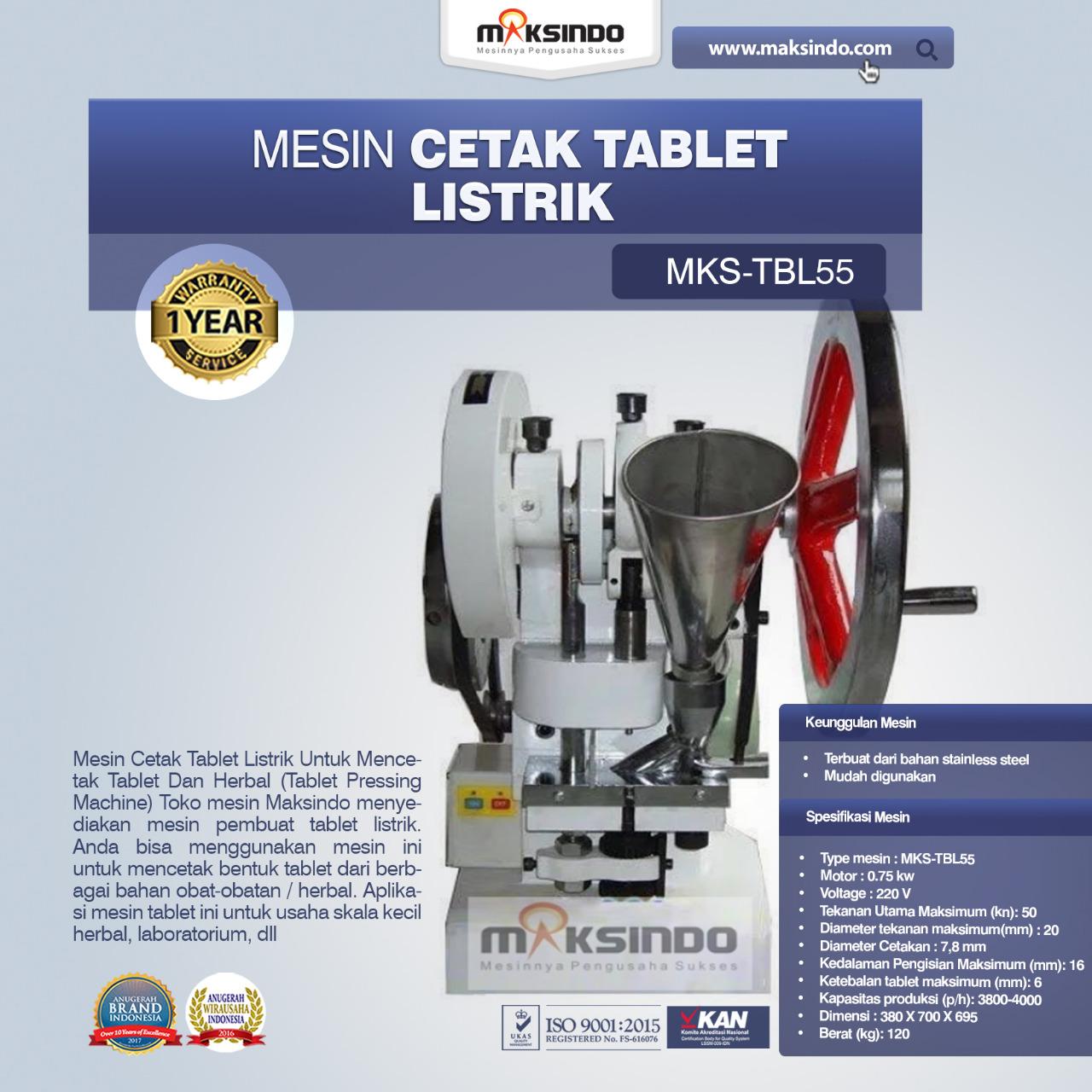 Jual Mesin Cetak Tablet Listrik – TBL55 di Bandung