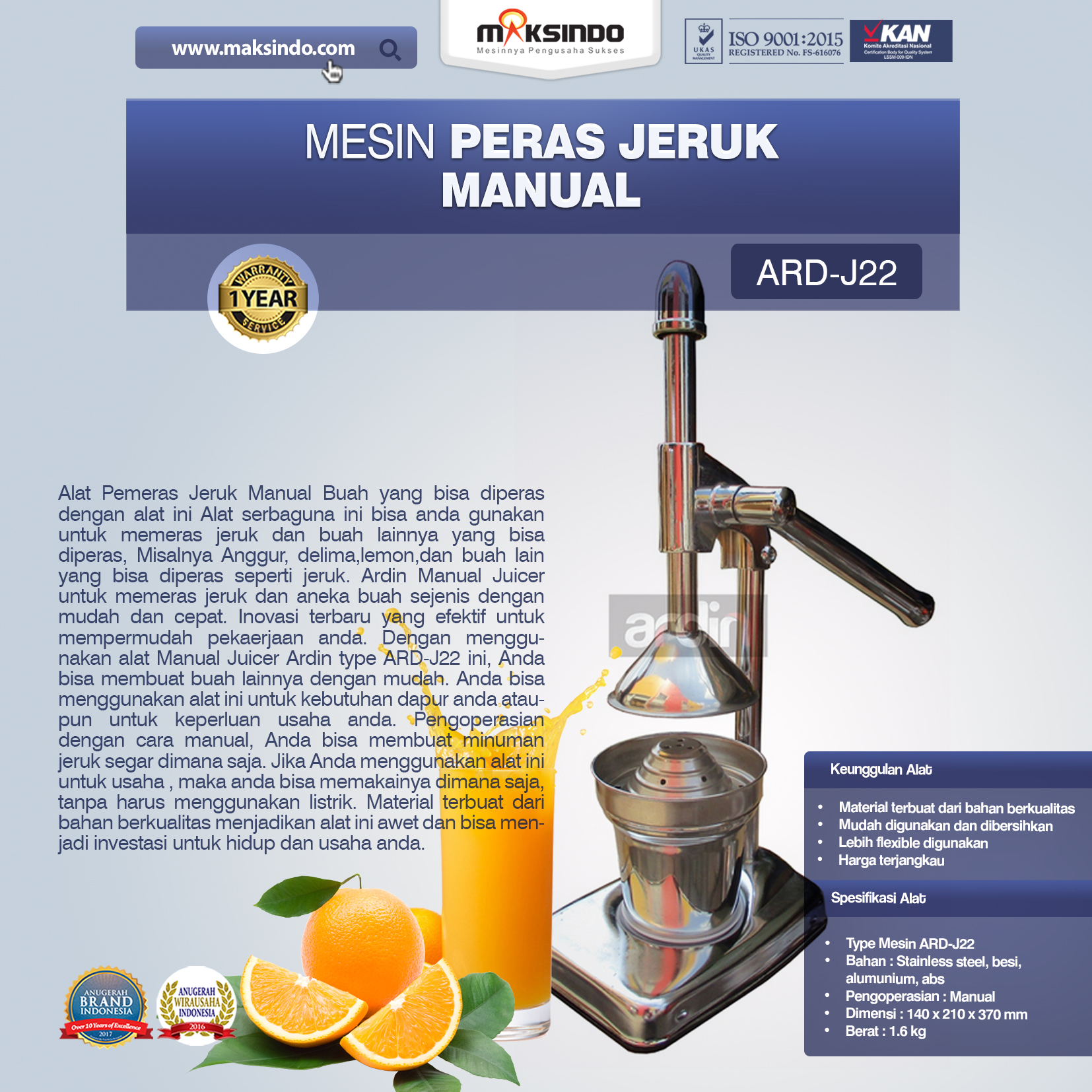 Jual Alat Pemeras Jeruk Manual ARD-J22 di Bandung
