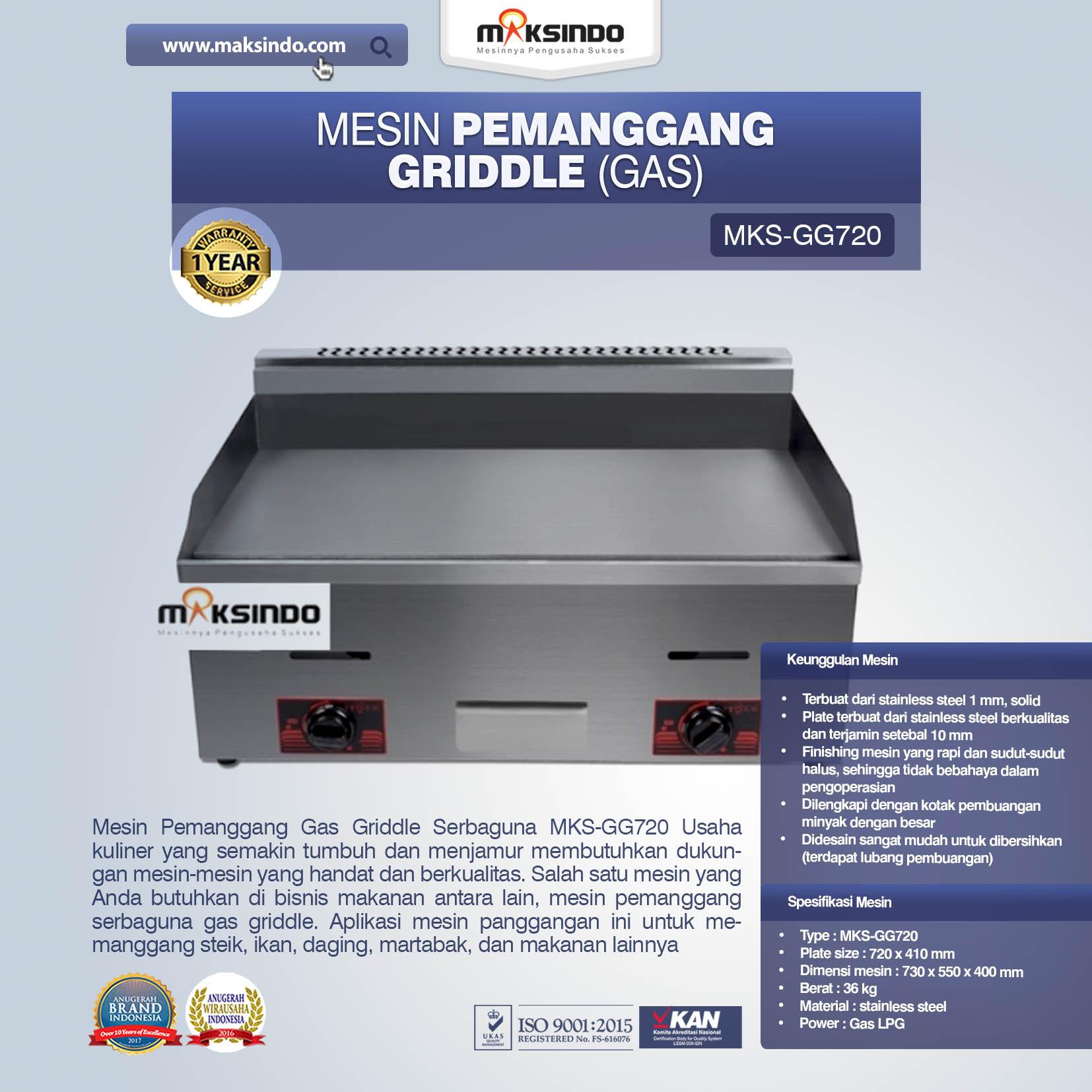 Jual Mesin Pemanggang Griddle (Gas) – GG720 di Bandung