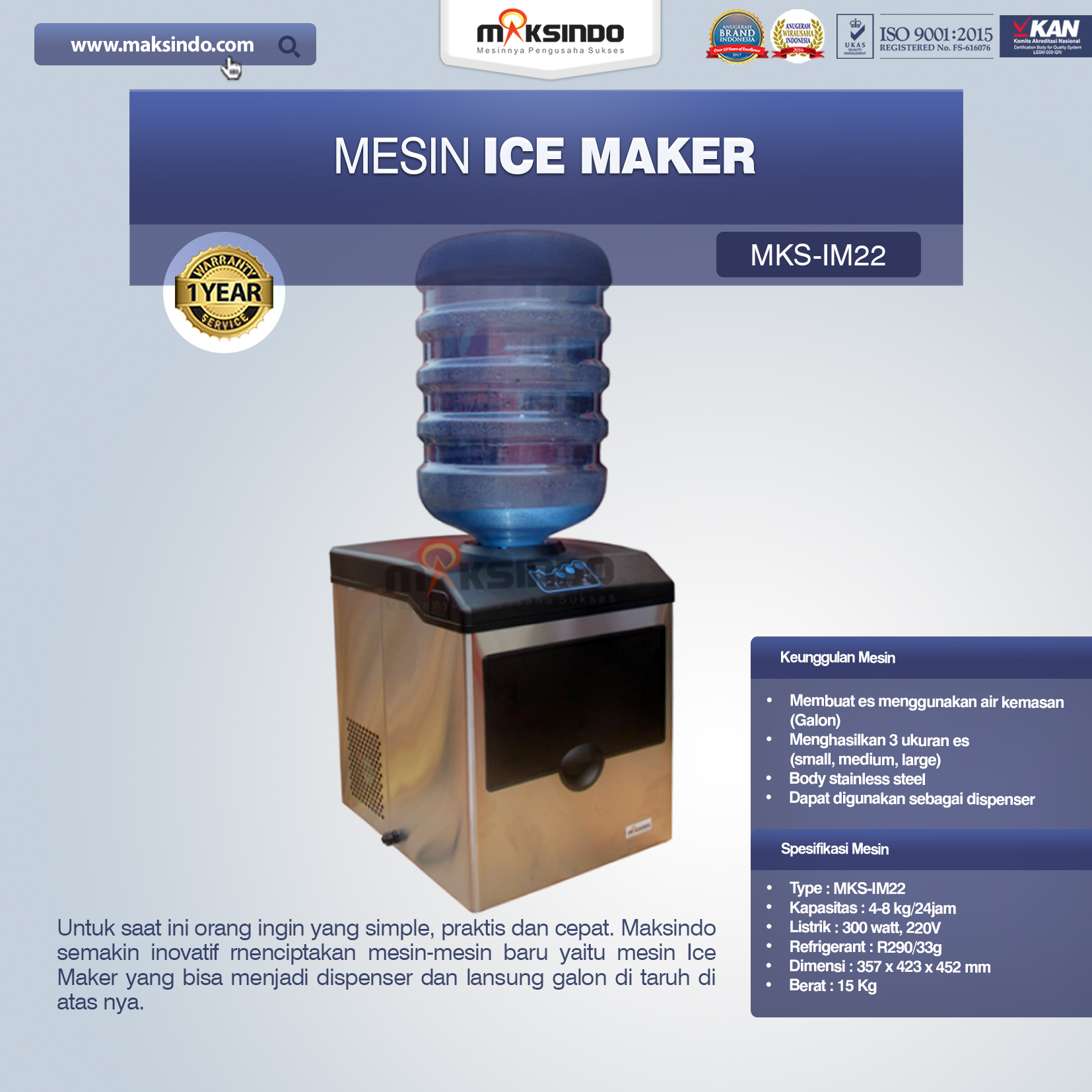Jual Mesin Ice Maker MKS-IM22 di Bandung
