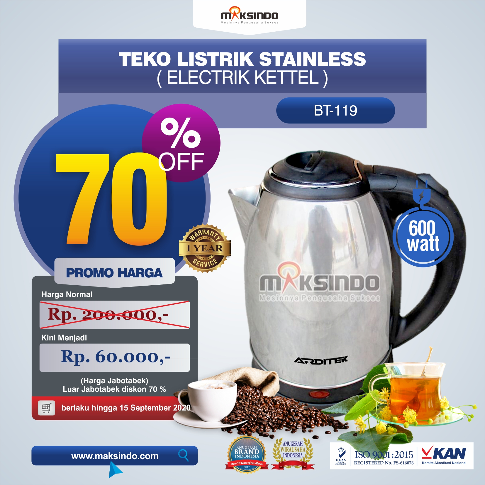 Jual Teko Listrik Stainless (Electrik Kettel) BT-119 di Bandung