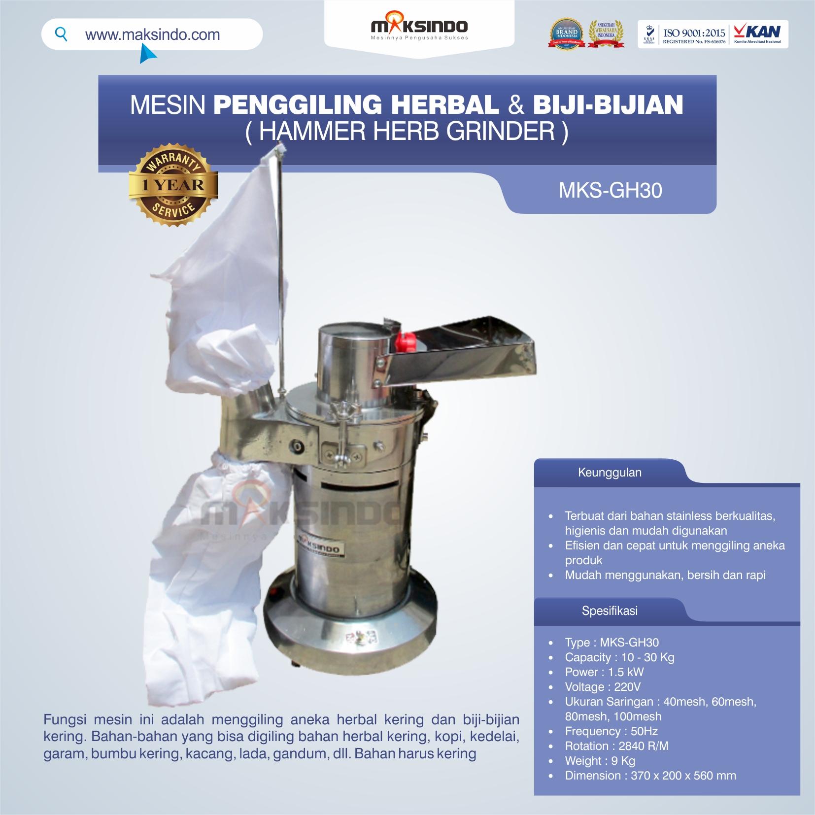 Jual Penggiling Herbal dan Biji-Bijian (GH-30) di Bandung