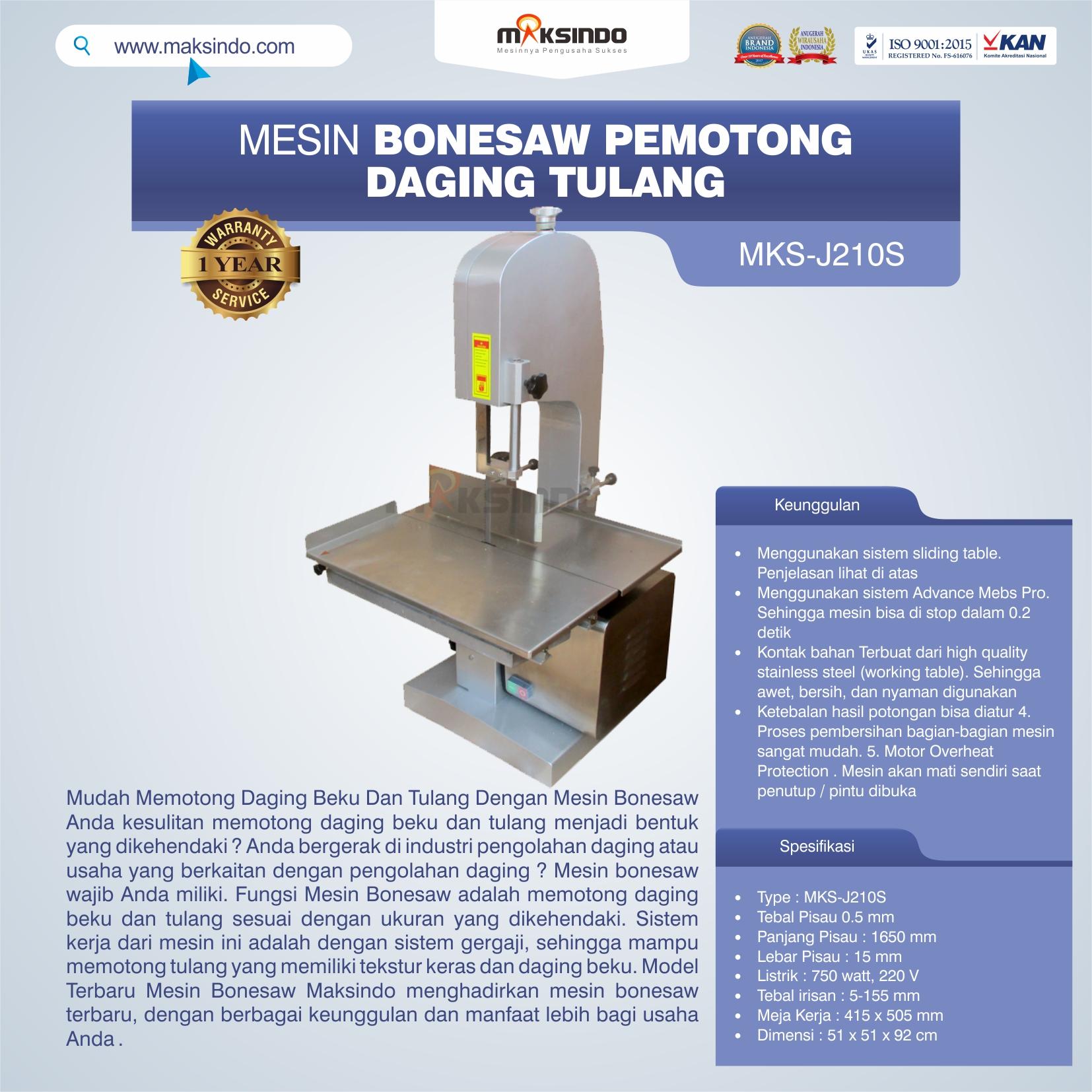 Jual Mesin Bonesaw Pemotong Daging Tulang (MKS-J210S) di Bandung