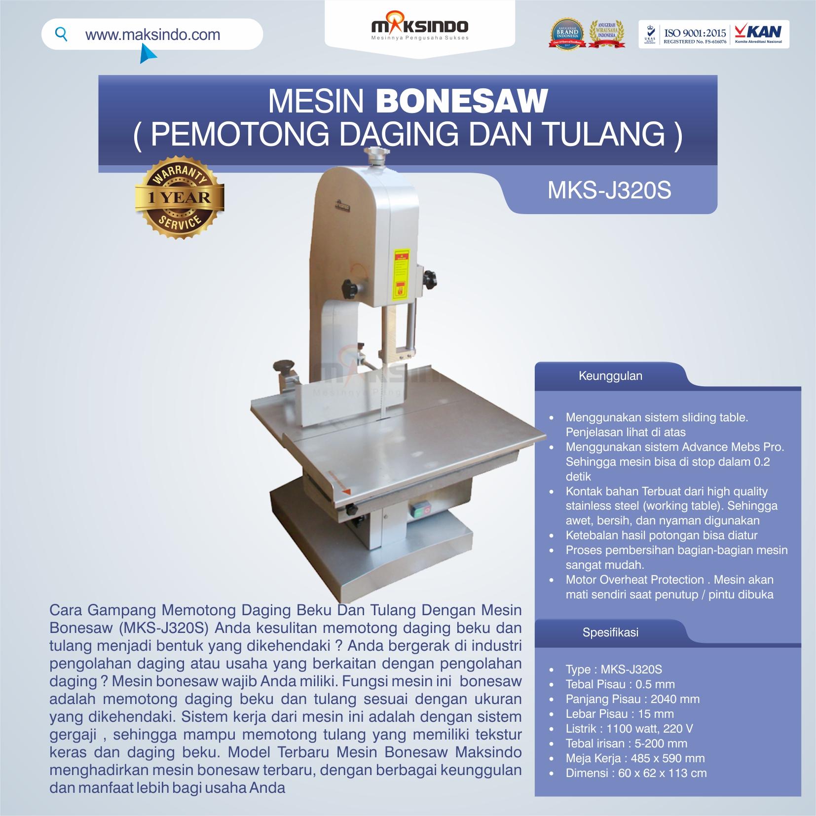 Jual Mesin Bonesaw MKS-J320S (pemotong daging dan tulang) di Bandung