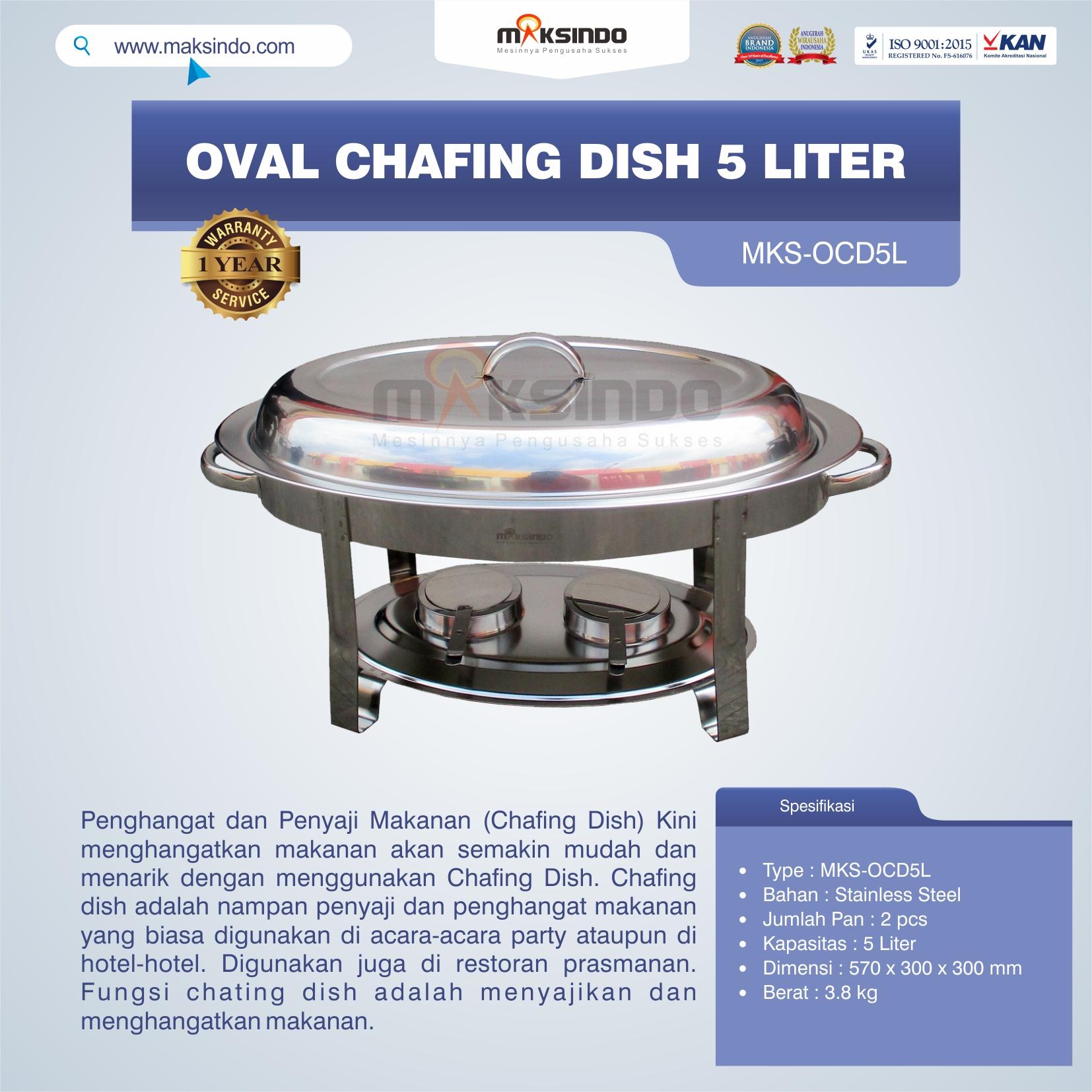 Jual Oval Chafing Dish 5 Liter di Bandung