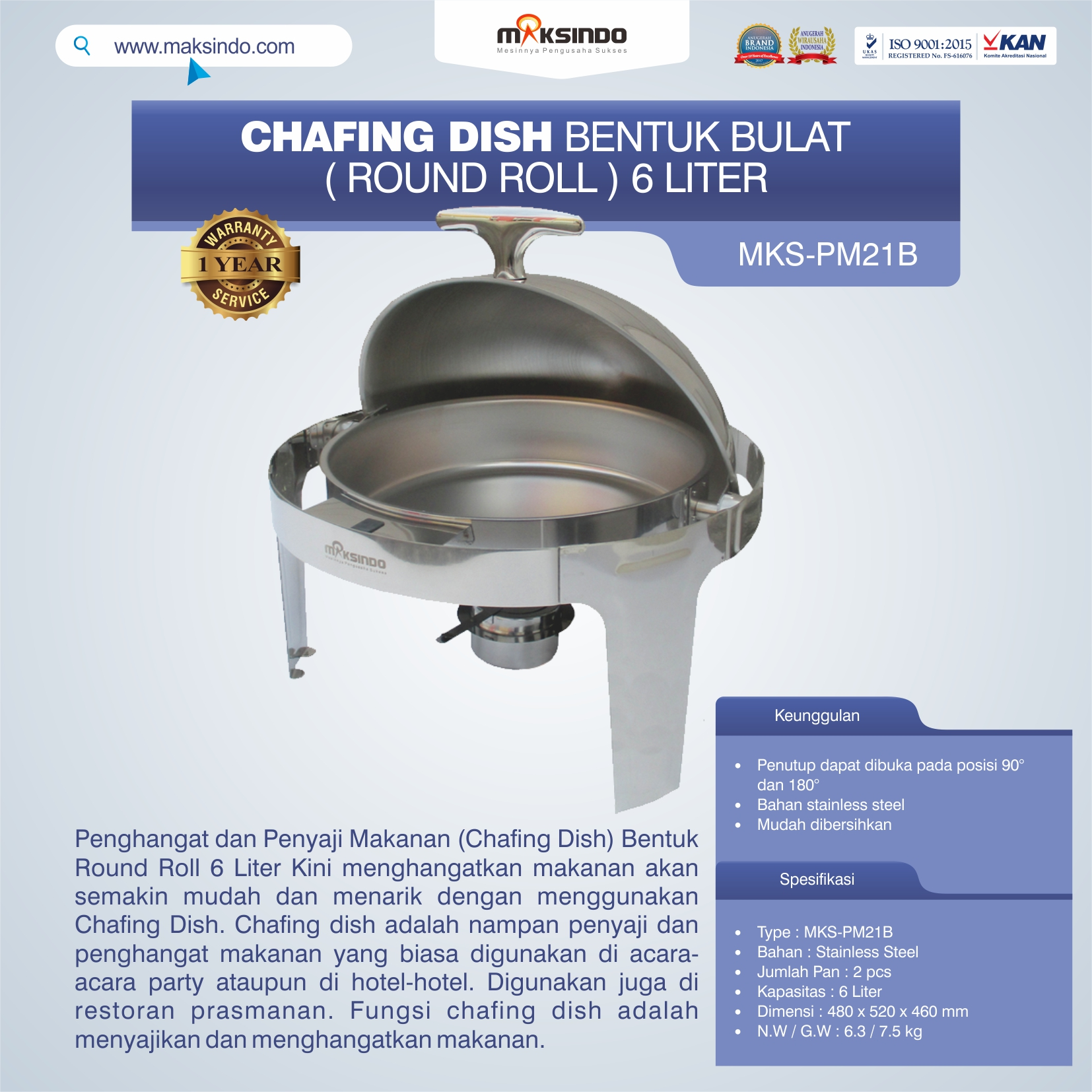 Jual Chafing Dish Bentuk Bulat (Round Roll) 6 Liter di Bandung