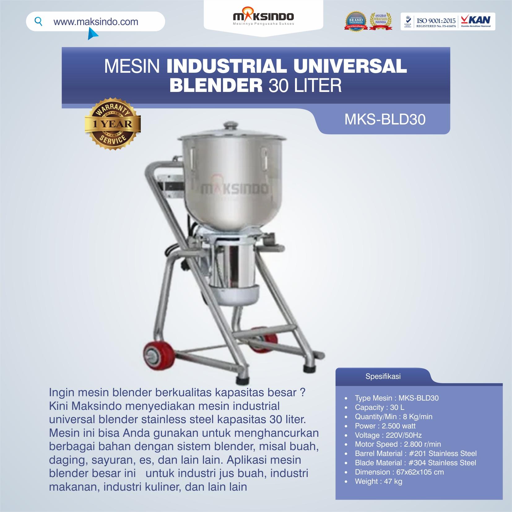 Jual Industrial Universal Blender 30 Liter MKS-BLD30 di Bandung
