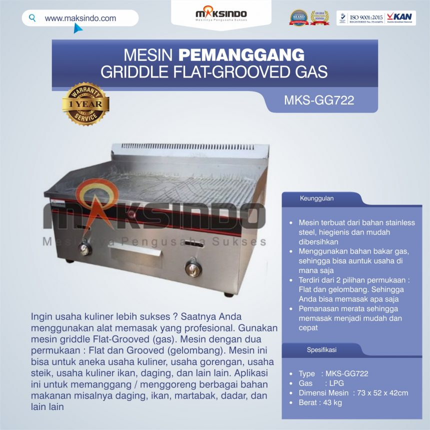 Jual Pemanggang Griddle Flat-Grooved Gas (GG722) di Bandung